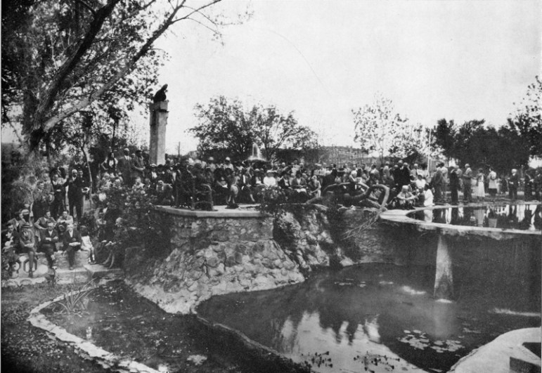 The garden in 1930, with its meandering network of multi-leveled pools (now demolished). This area featured several types of pools and a stage. Here Urrutia and his guests celebrate his 58th birthday and his 35th year in medical practice. Photo courtesy of Urrutia Photo Collection.