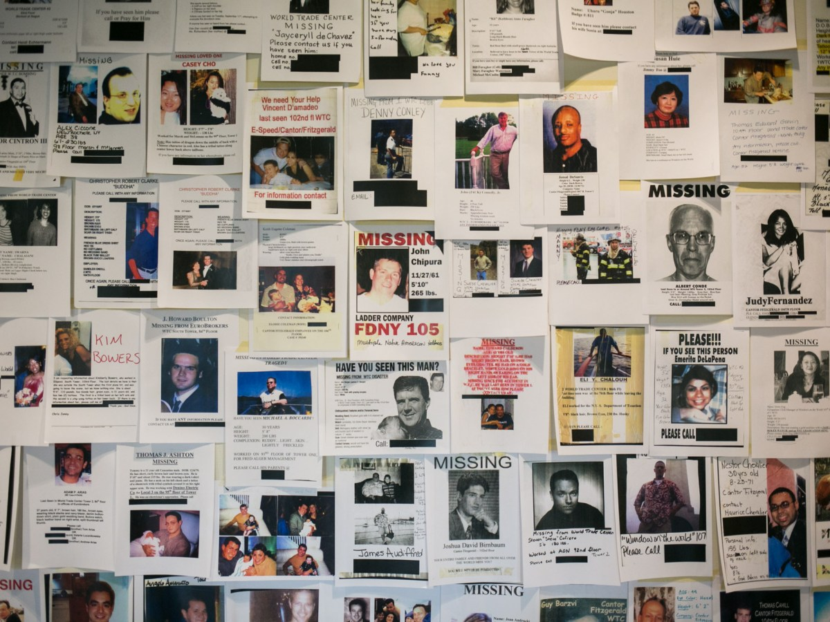 A collection of flyers of missing loved ones that were made after Sepetember 11. Photo by Kathryn Boyd-Batstone.
