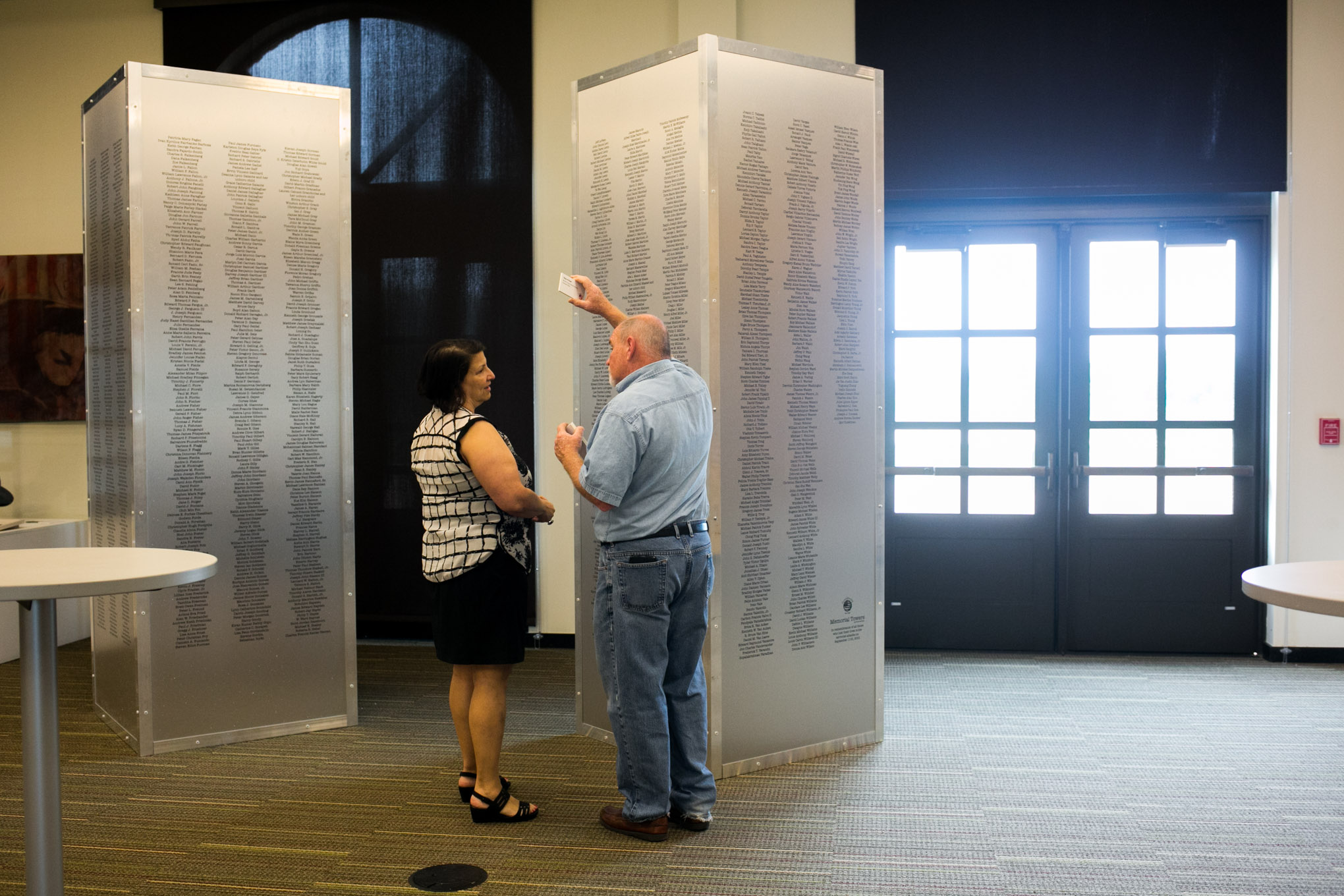 A statue standing 9 feet 11inches inscribed with all 2,996 victims names of those who past during September 11. Photo by Kathryn Boyd-Batstone.