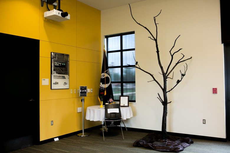 The Missing Man Table and Survivor Tree statue made from World Trade Center remnants. Photo by Kathryn Boyd-Batstone.