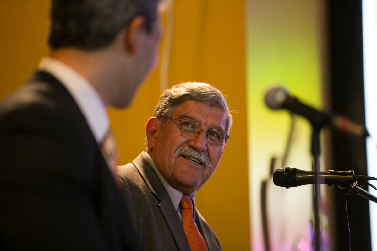UTSA President RIcardo Romo speaks about how he wants to leave on a high note. Photo by Kathryn Boyd-Batstone.