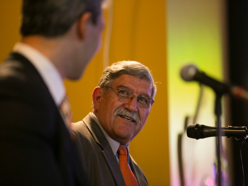 UTSA President RIcardo Romo speaks about how he wants to leave on a high note. Photo by Kathryn Boyd-Batstone.