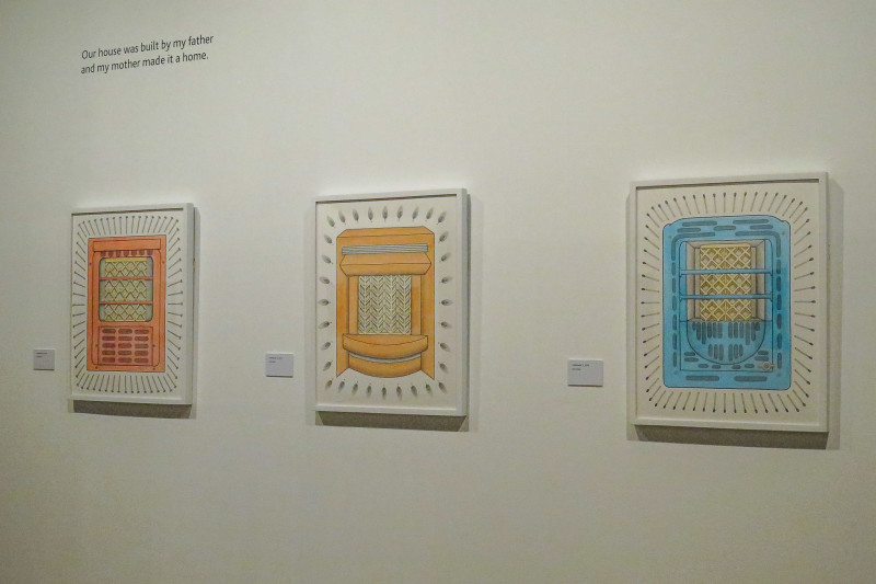 """Jose Sotelo's artwork depicts several """"calentadores,"""" – heaters. Photo by Rocío Guenther."""