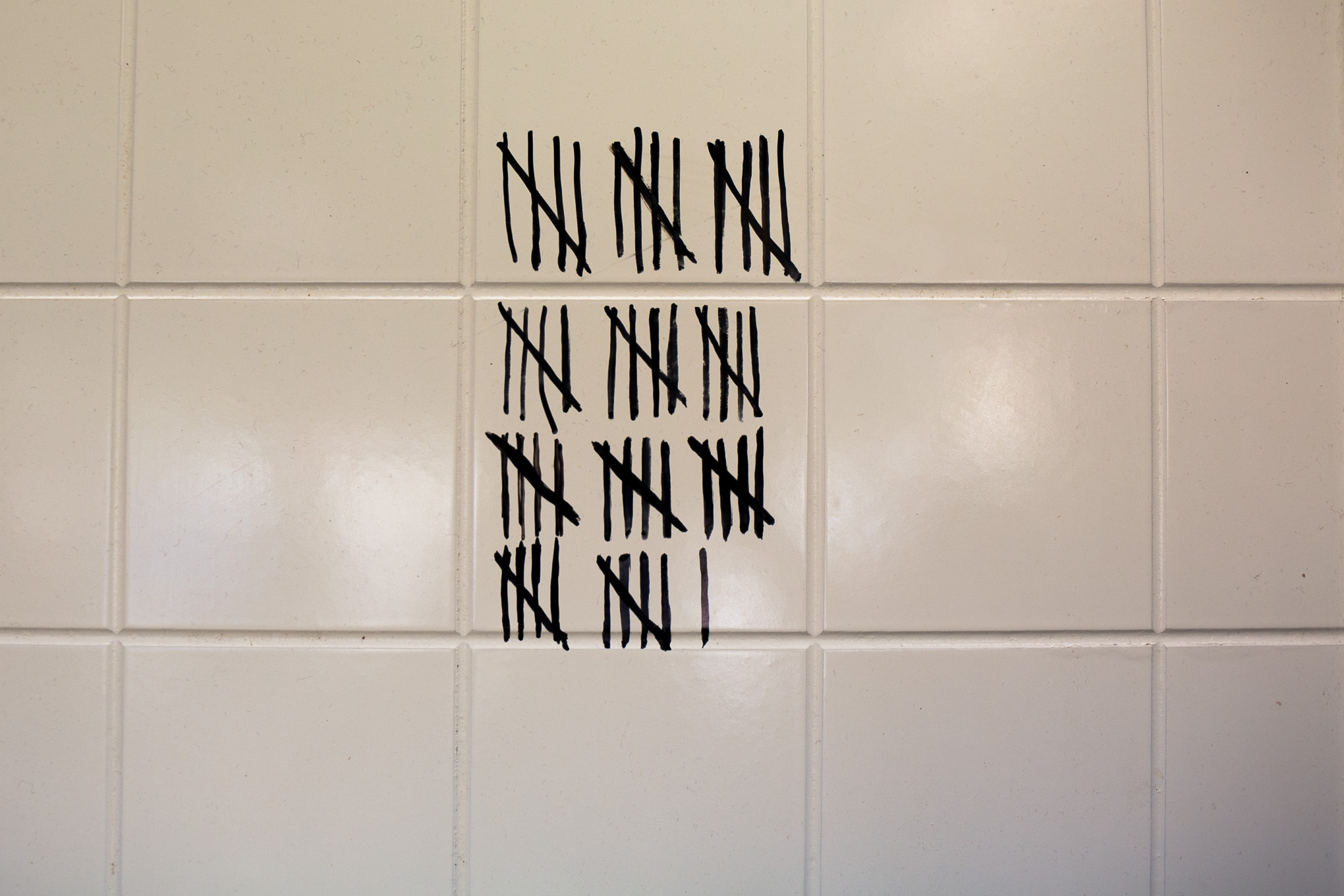 The tile wall at RO-HO Pork & Bread, where Chef Jorge Rojo adds a tally every time a customer says his tortas are better than the ones they tried in Guadalajara. Photo by Kathryn Boyd-Batstone.