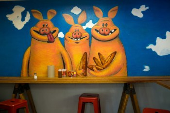 Wall art inside the restaurant by chef Jorge Rojo. Photo by Kathryn Boyd-Batstone.