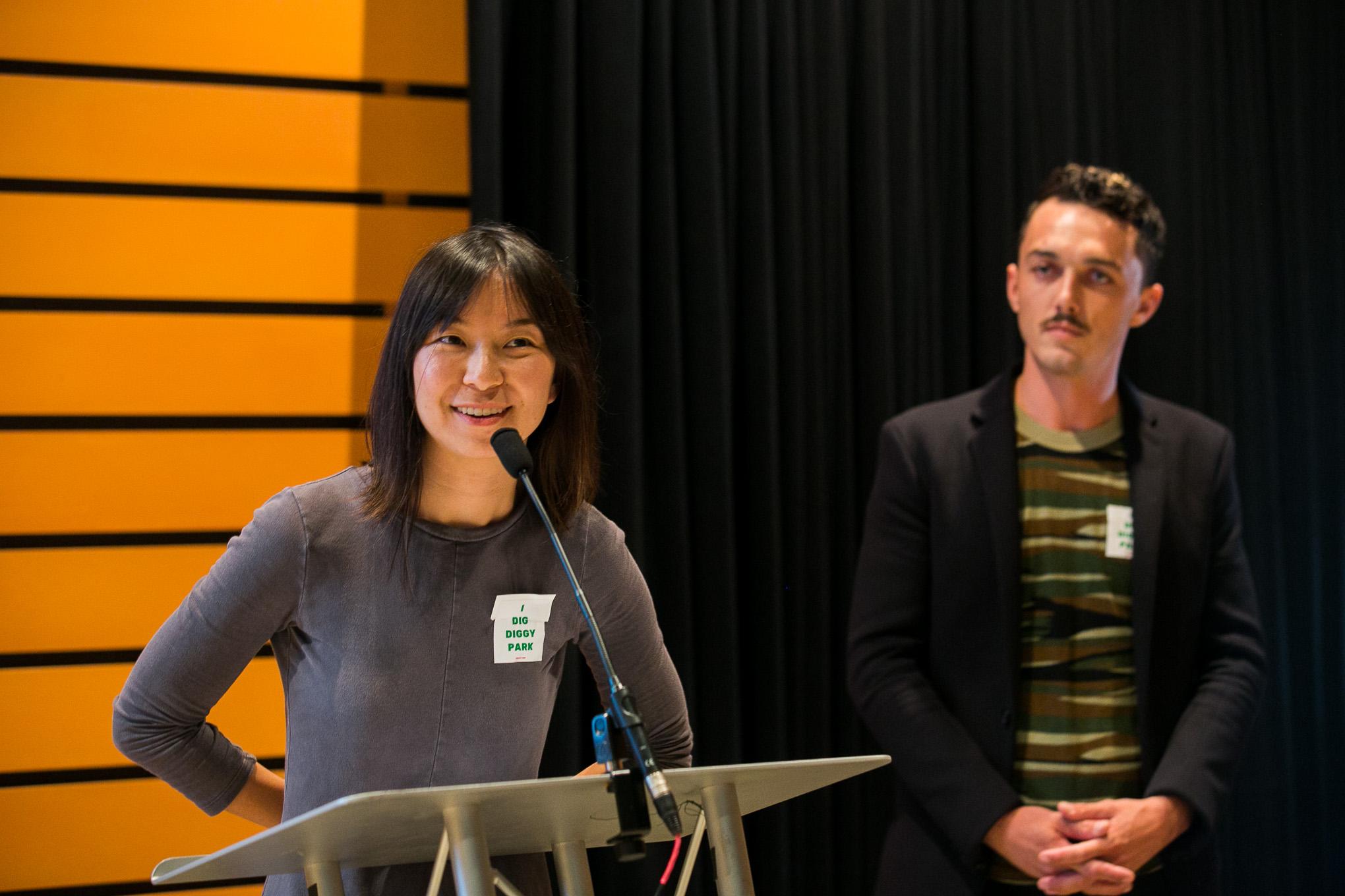 Allison Hu and Nicolas Rivard speak about their non-profit Public Space East. Photo by Kathryn Boyd-Batstone.