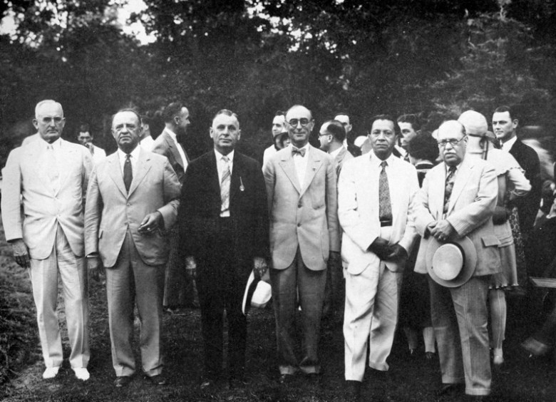 A group photo at Urrutia's 1930 Miraflores birthday party includes Police Commissioner Phil Wright, Parks Commissioner Jacob Rubiola, City Commissioner Paul Steiffler, Municipal President CM Chambers, and Mexican Consul General Enrique Santibañez, who founded the San Antonio Hispanic Chamber of Commerce. Photo by HL Summerville. Photo courtesy of Urrutia Photo Collection.
