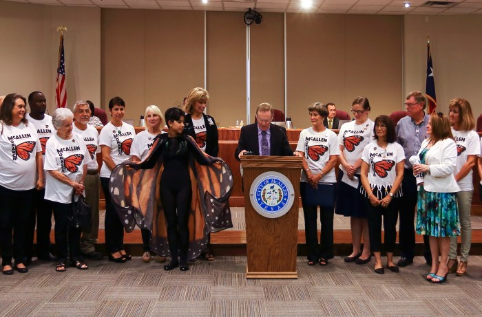 McAllen Mayor Jim Darling announces McAllen's status as a Monarch Butterfly Champion City. Courtesy photo.