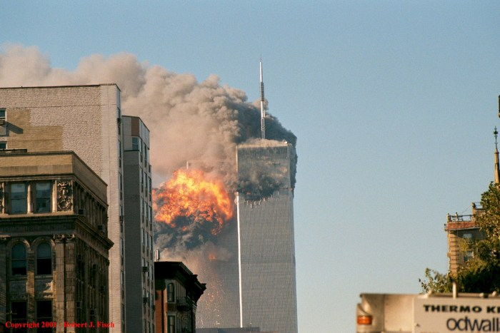 Fireball erupting in the South Tower.  Photo courtesy of Flickr user Robert (See my albums), Creative Commons.