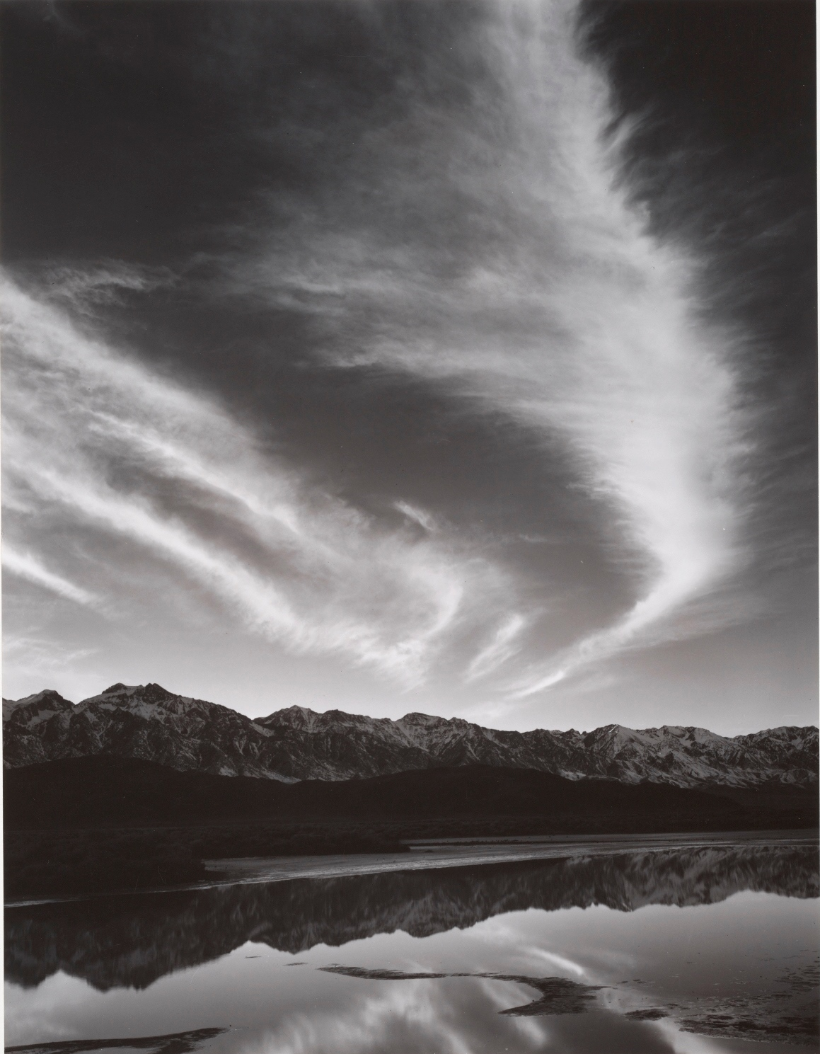 The Sierra Nevada, Winter Evening, from the Owens Valley, Portfolio Four: What Majestic Word, In Memory of Russell Varian (1940-63). Photo by Ansel Adams.