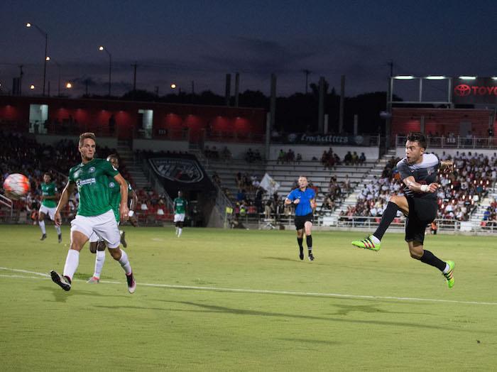 Carlos Alvarez scores San Antonio FC's lone goal against Saint Louis FC Saturday night at Toyota Field. Photo by Darren Abate for USL.