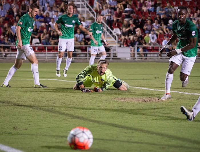 Saint Louis FC goalkeeper Mark Pais' gaze follows the ball as it rolls out of his reach. Photo by Darren Abate for USL.