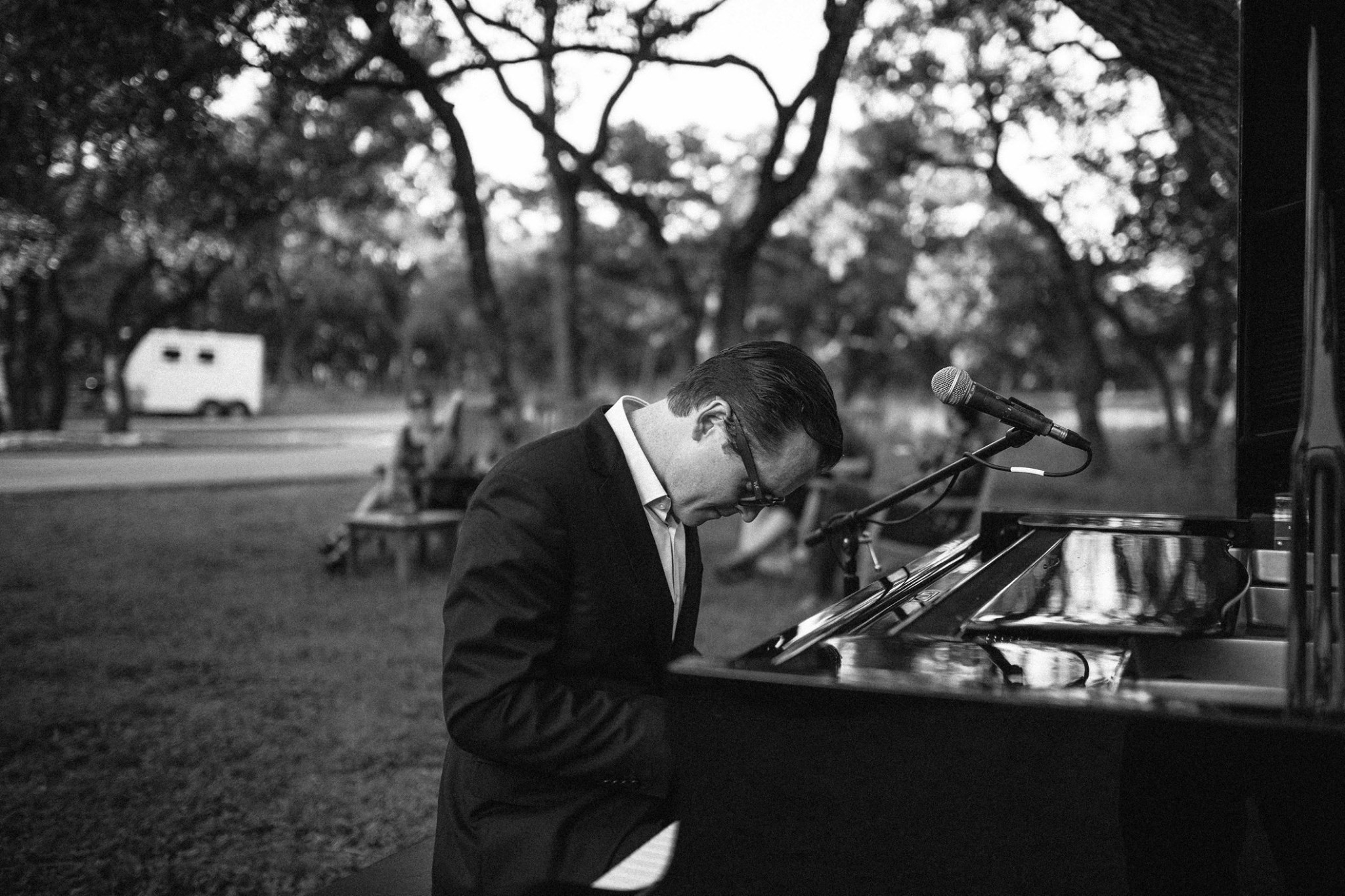 Doc Watkins plays the piano at a sneak peek for his club Jazz, TX. Photo courtesy of Doc Watkins.