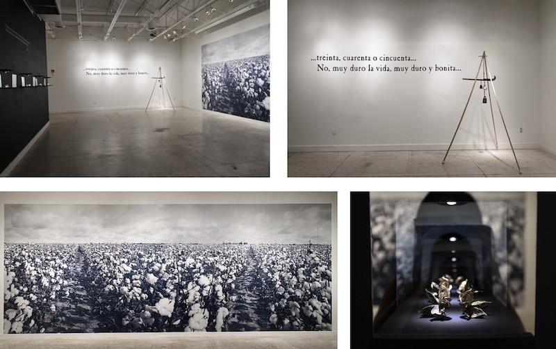 El Color de la Obra, 2016, installation at Guadalupe Cultural Arts Center. Photo courtesy of Jenelle Esparza, lower right photo by David S. Rubin.