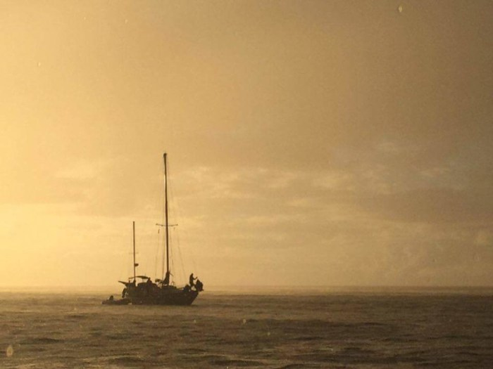 Silent Sun coming in to the bay of Vaitahu. Photo by Everett Redus.