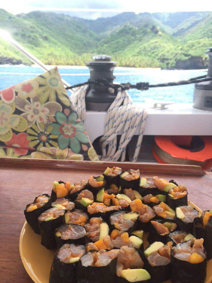 Sushi made from fresh-caught tuna and hand-picked fruit on Soul Rebel. Photo by Everett Redus.