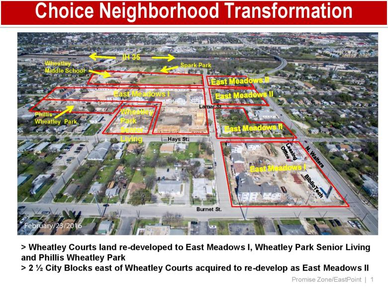 The City Council will soon consider applying for state tax credits in the development of East Meadows Phase II, in the Eastside Choice Neighborhood. Image courtesy of City of San Antonio.