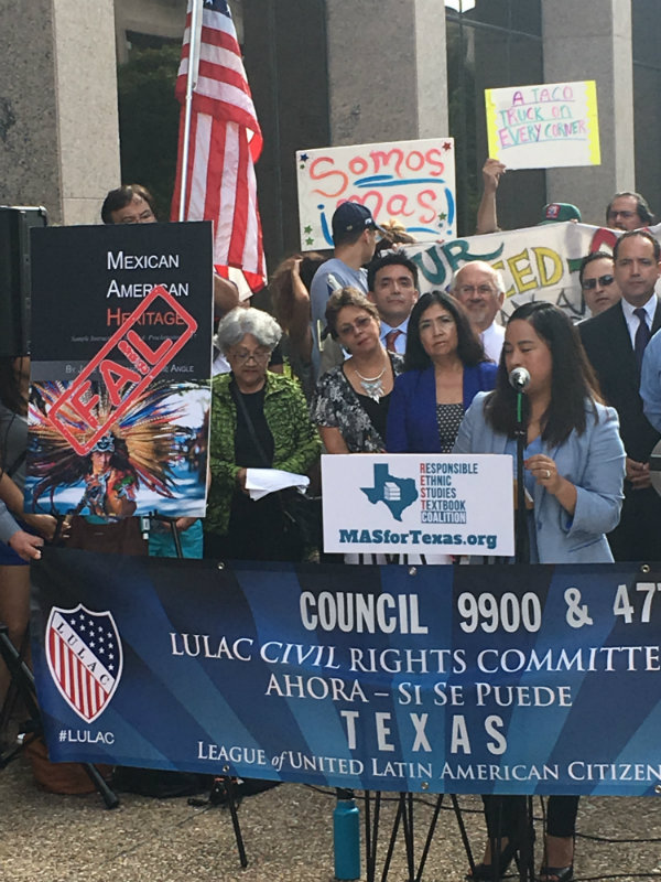 SBOE member Marisa Perez (D) speaks at the rally. Photo by Leo Treviño.