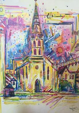 """St. Joseph's Parish"" (St. Joskes) by Rex Hausmann. Image courtesy of the Ecumenical Center."