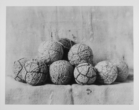 Untitled (Bolas de Cordón), 2013, collotype on paper, 10 x 13, in., (not in exhibition). Photo courtesy of Kent Rush.