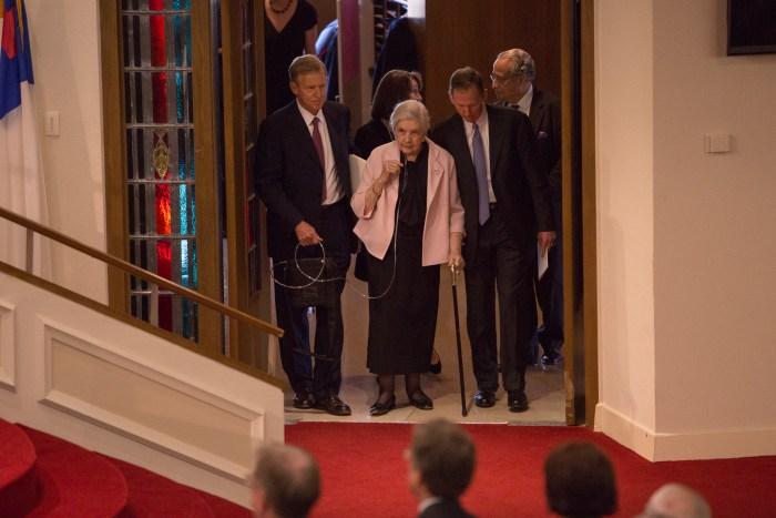 Barbara Dan Butt is escorted into the service.  Photo by Scott Ball.