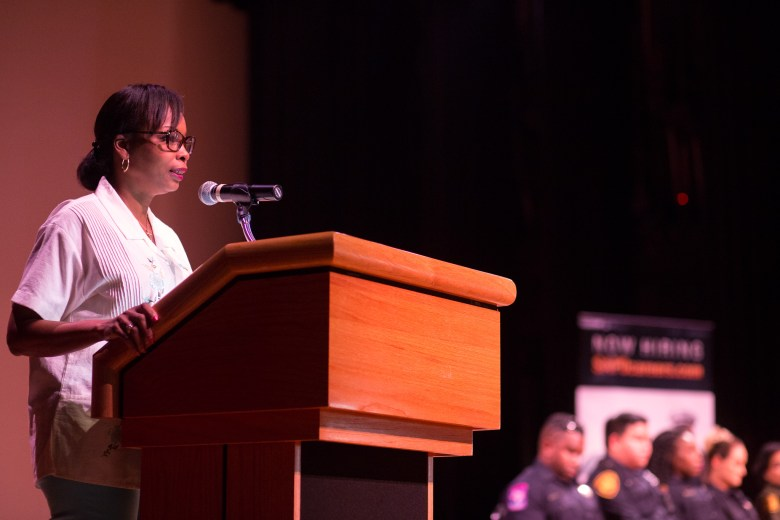 Mayor Ivy Taylor speaks to the growing number of women entering the San Antonio Police Department. Photo by Scott Ball.