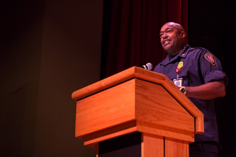 San Antonio Fire Department Chief Charles Hood tells a personal story of his time as a firefighter recruit. Photo by Scott Ball.