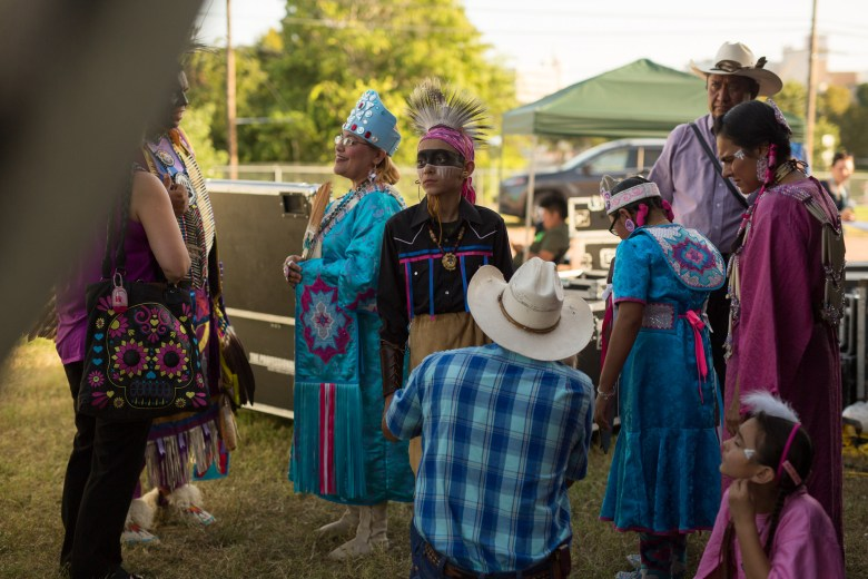 American Indians in Texas Dance Theater assemble backstage before their performance. Photo by Scott Ball.