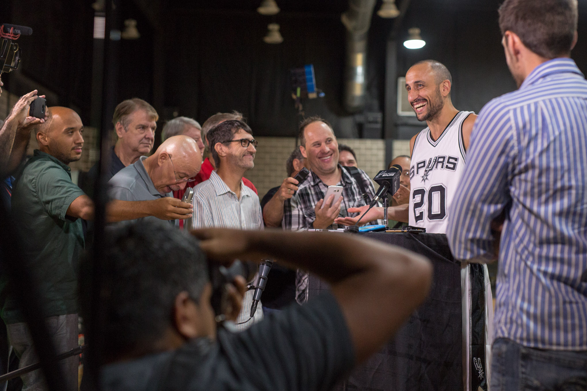 San Antonio Spurs Guard Manu Ginobili laughs following a question from a reporter. Photo by Scott Ball.