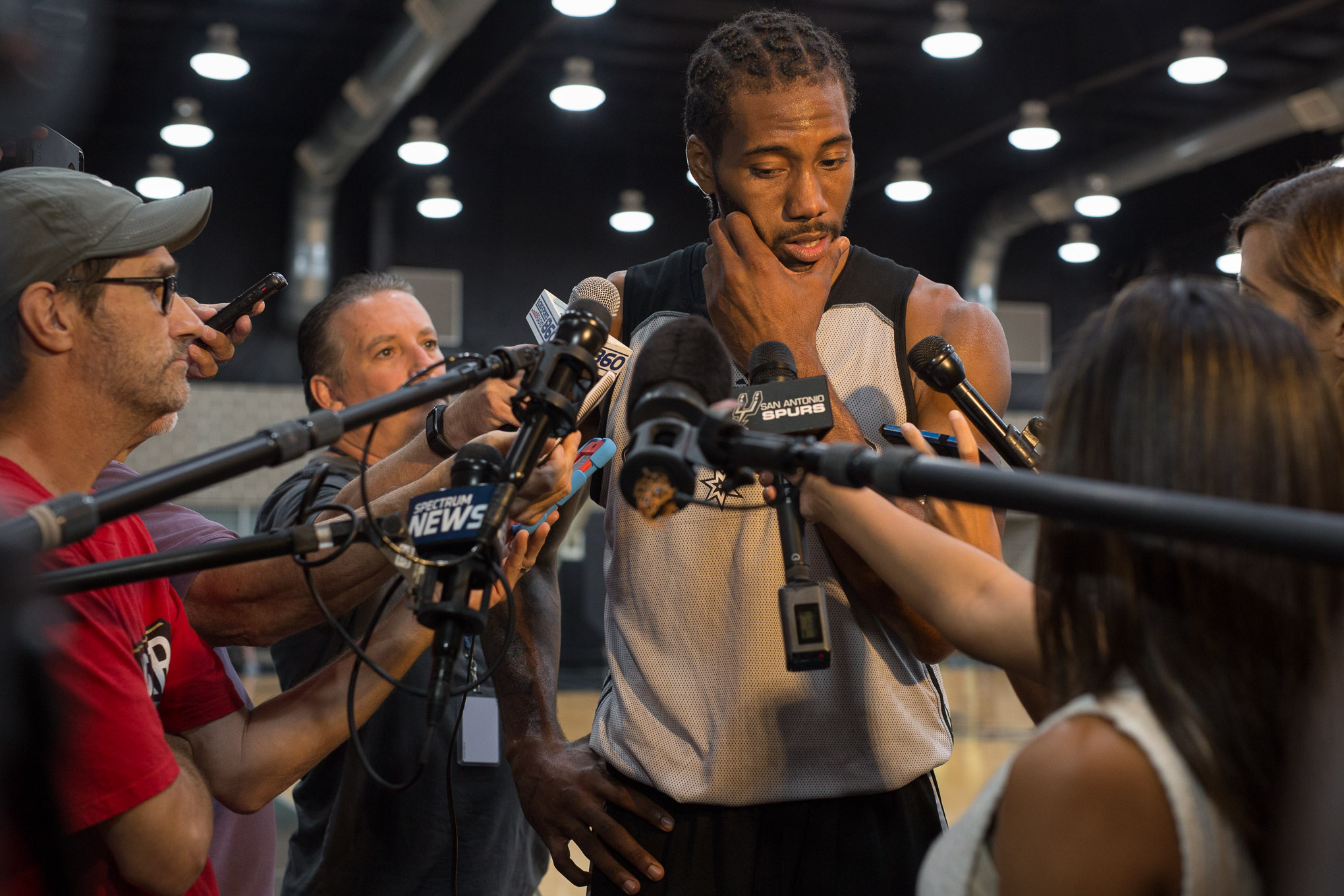 San Antonio Spurs Forward Kawhi Leonard responds to reporters question during the first day of practice on Tuesday Sept. 27, 2016. Photo by Scott Ball.