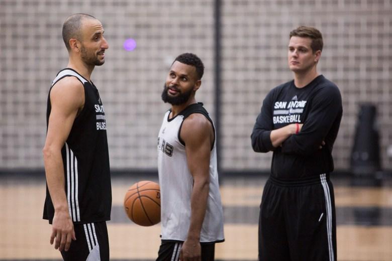 Spurs players Manu Ginobili and Patty Mills shoot around during practice. Photo by Scott Ball.