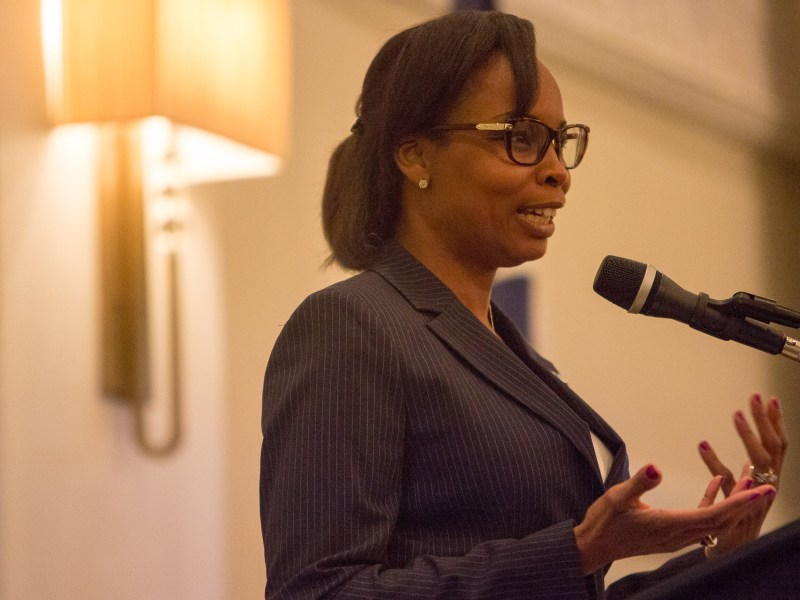 Mayor Ivy Taylor introduces Councilwoman Rebecca Viagran at the Sheraton Guenther Hotel in Downtown San Antonio. Photo by Scott Ball.