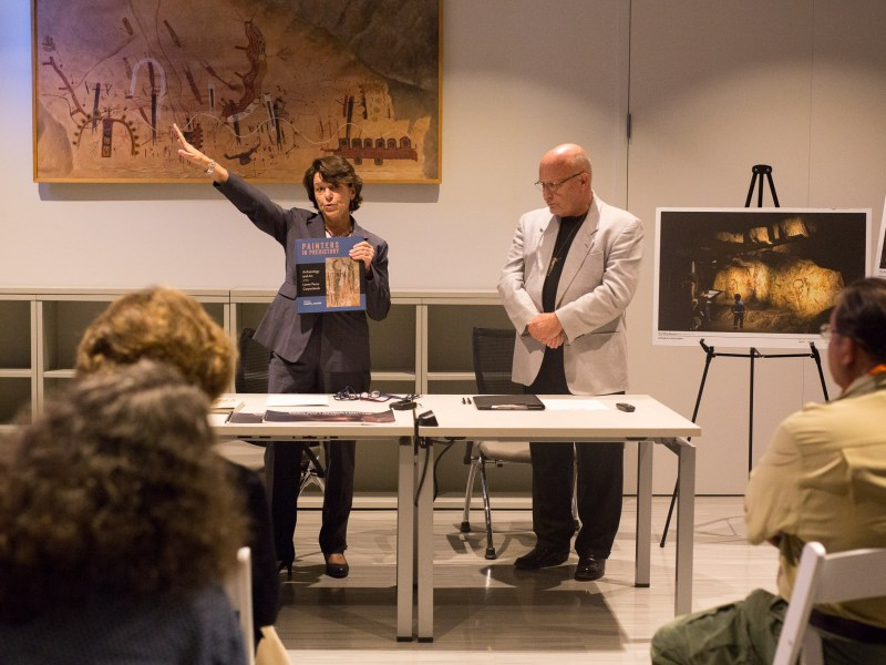 (left to right) Witte Museum President and CEO Marise McDermott and CEO of The Rock Art Foundation Greg Williams discuss plans to take over the preservation efforts in the Lower Pecos Canyonlands. Photo by Scott Ball.