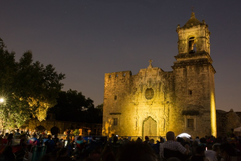 Mission San José at night. Photo by Scott Ball.