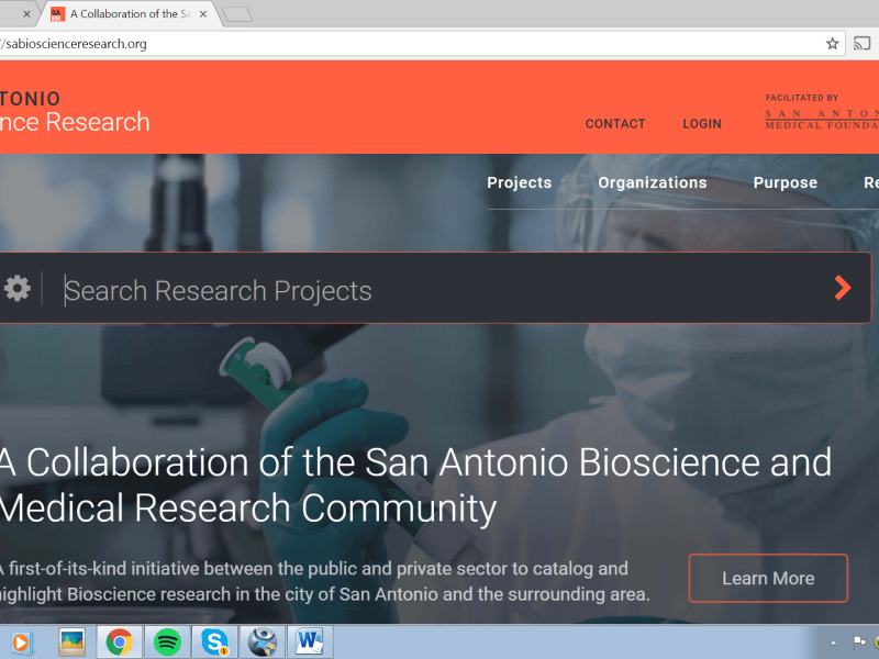 SABioscienceResearch.org website showcases ongoing research projects in the bioscience industry in San Antonio.