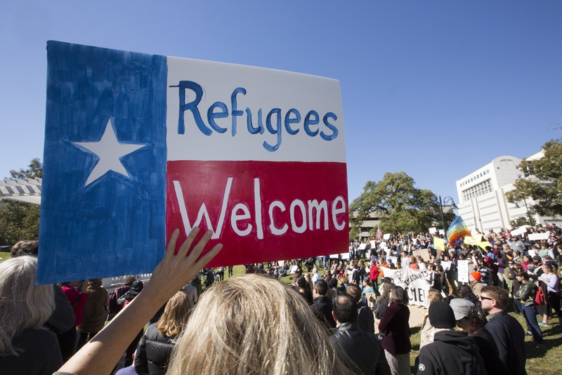 A group gathered at Wooldridge Park in Austin on Nov. 22, 2015, to protest Gov. Greg Abbott's decision not to accept refugees from Syria. Photo by Marjorie Kamys Cotera for the Texas Tribune.