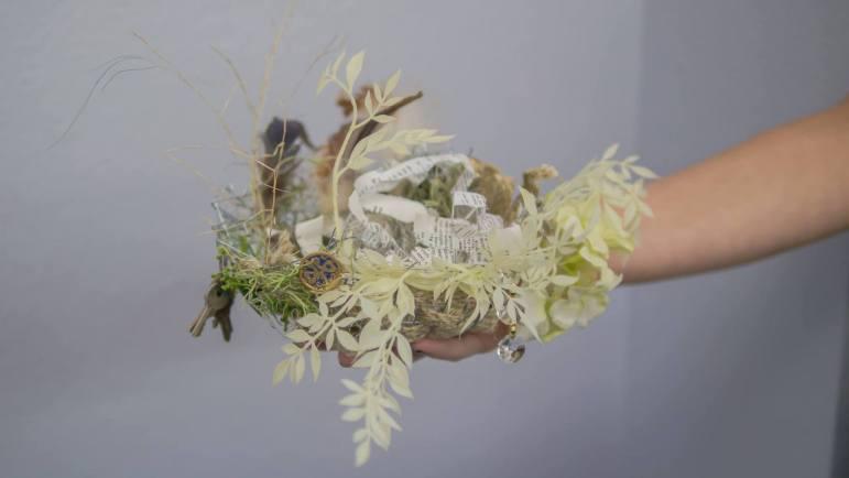 Nest artwork created under the guidance of artist Kari Englehardt.