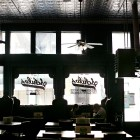 The original Schilo's sign was hand painted on the windows of the shop. Photo by Kathryn Boyd-Batstone.