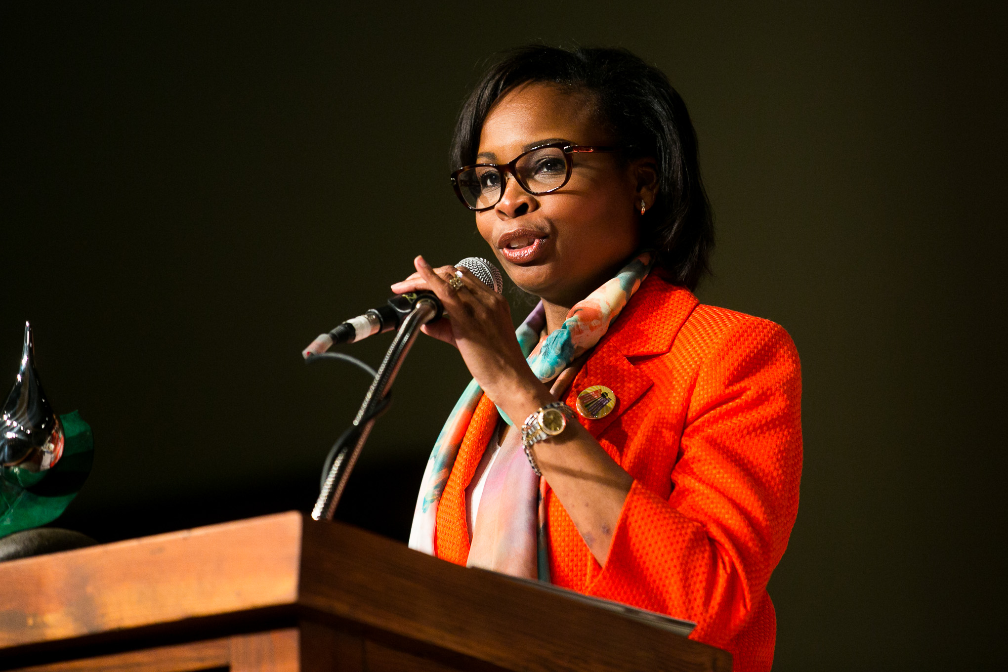 Mayor Ivy Taylor speaks about the importance of aquifer protection and water quality. Photo by Kathryn Boyd-Batstone.
