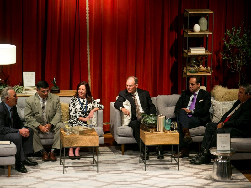 From left: Panelists EAA CEO Roland Ruiz, EAA Chair Luana Buckner, Rep. Tracy King, Uvalde, Sen. José Menéndez, D-San Antonio, and Rep. Doug Miller, New Braunfels sit down for a conversation about the future of EEA.