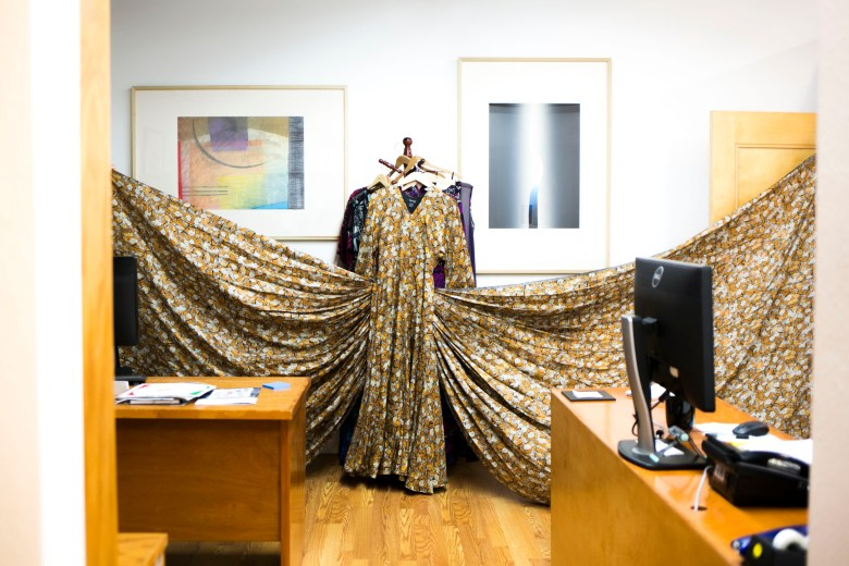 A monarch butterfly evening dress by designer Pineda Covalin that will be hung at the Instituto during the festival.