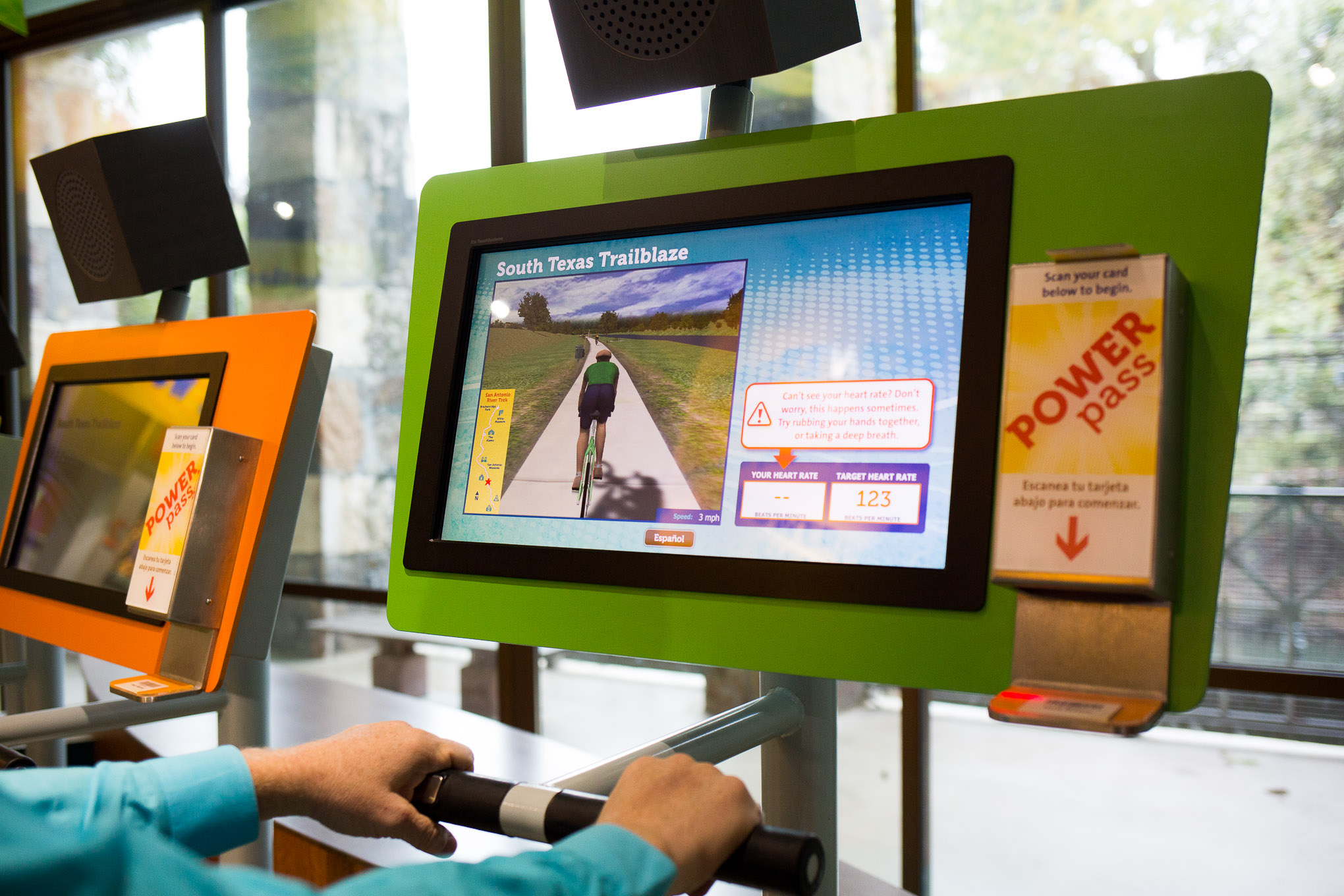 A GoPro was used to film the bike trail along the Mission Reach to localize the exhibit.