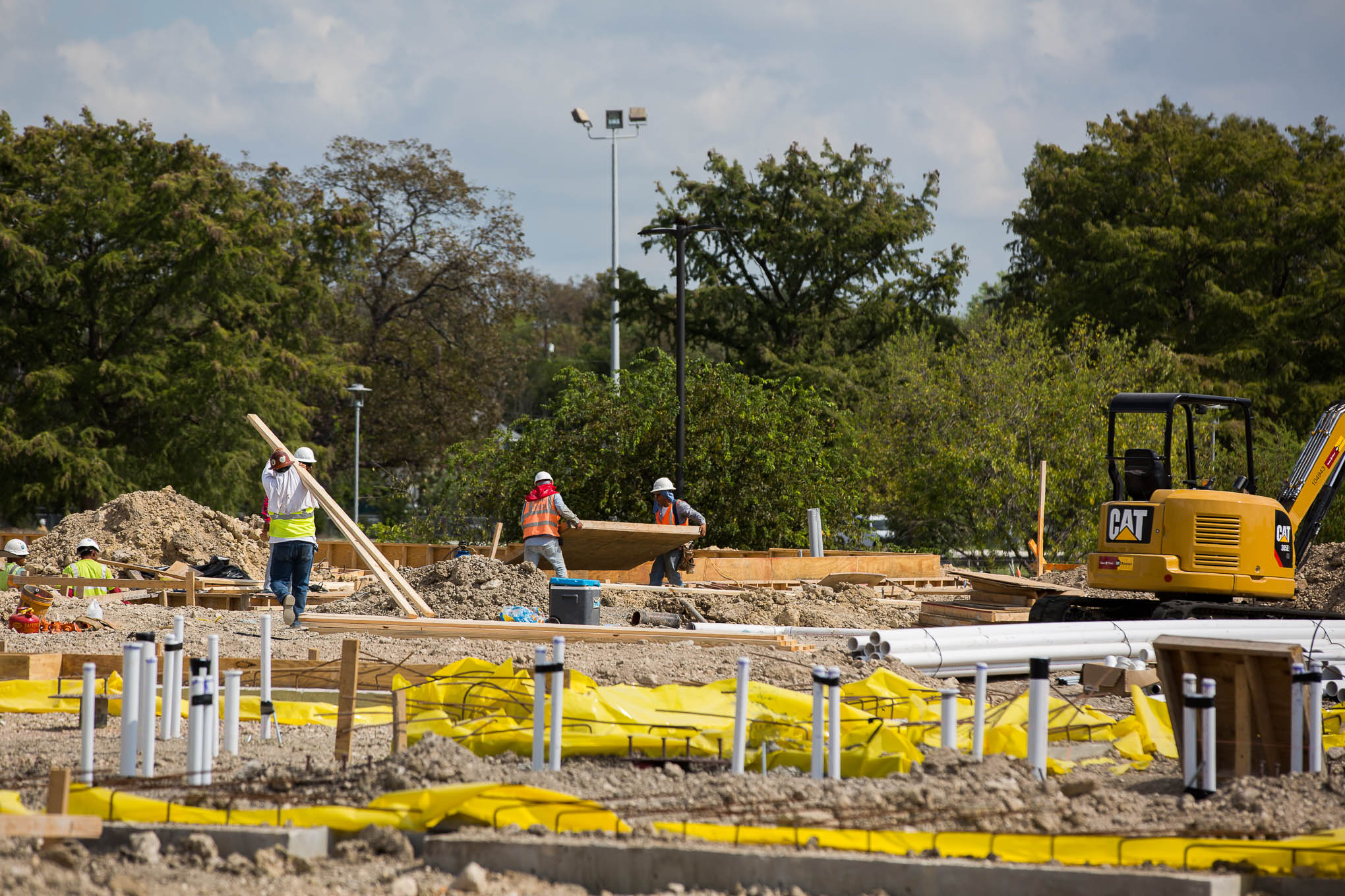 Construct workers prepare the foundation for what will be a new 234-bed Residence Hall at Our Lady of the Lake University.