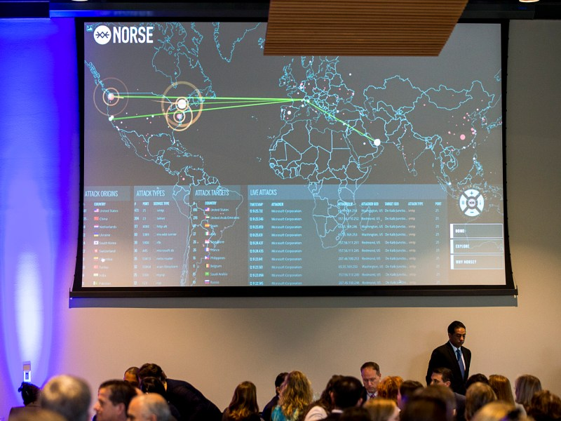A screen showing real-time cyber security attacks.