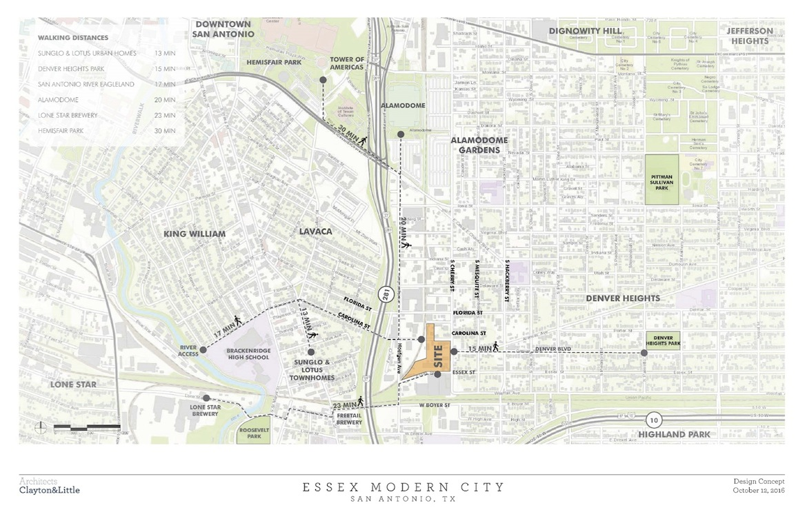 Developer Efraim Varga hopes to create a more walkable connection between the Essex Modern City and the San Antonio River's Mission Reach.