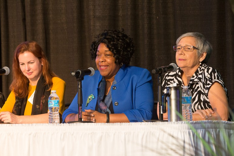 From left, Internet and technology attorney Debra Innocenti, CPS Energy President and Chief Executive Officer Paula Gold-Williams and LiftFund President & CEO Janie Barrera on Equal Pay SA panel.