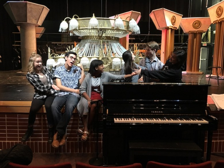 "North East School of the Arts Phantom of the Opera cast acting ""dramatic."" Bekah McNeel / Rivard Report"
