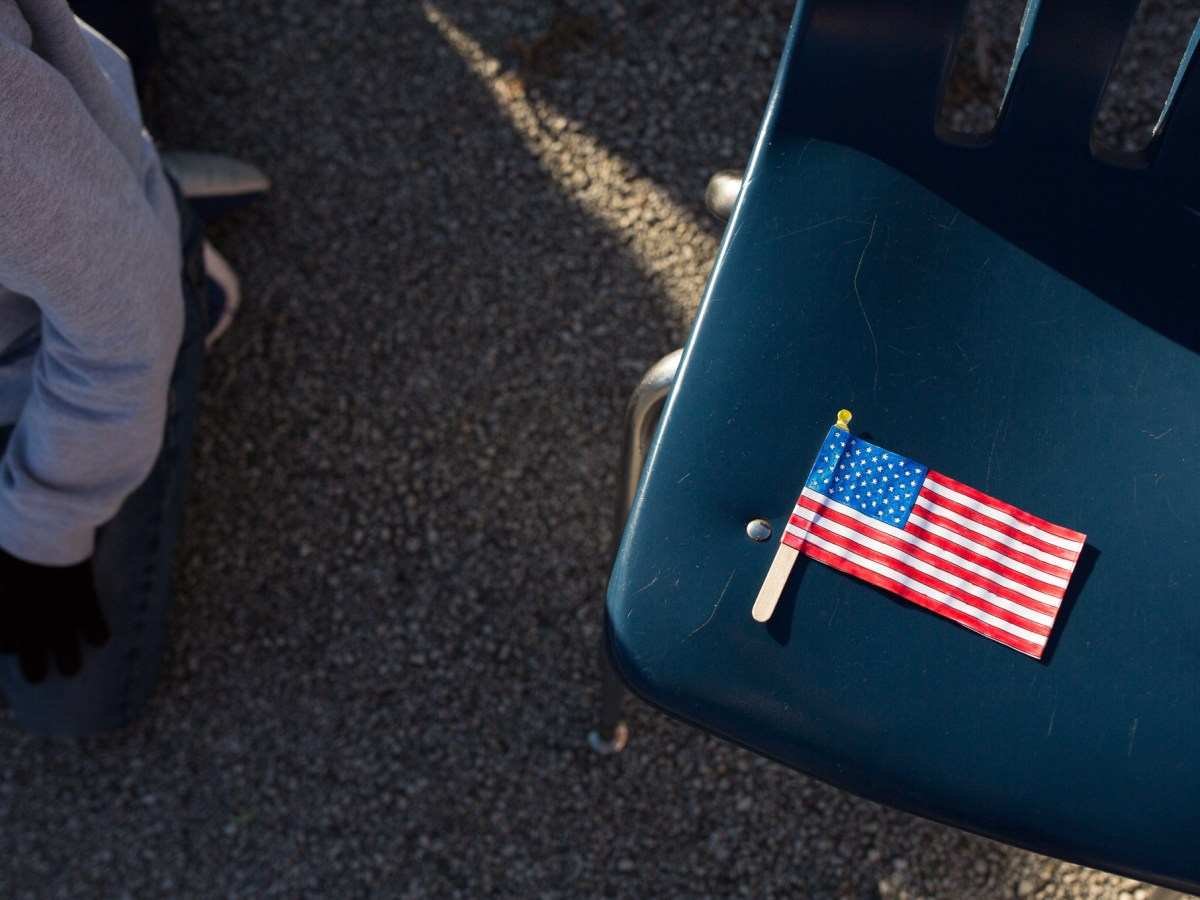 A crafted American flag lies on a chair at Colonies North Elementary of Northside ISD.