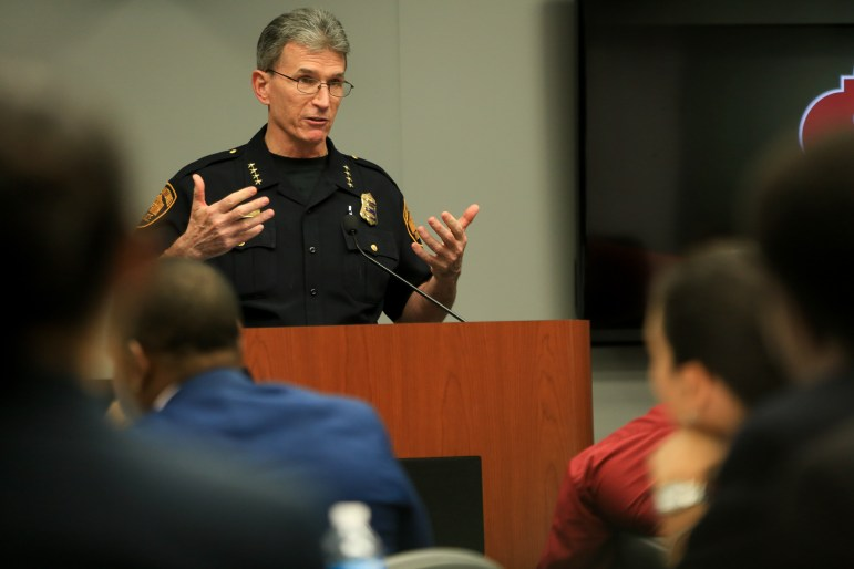 San Antonio Police Department Chief William McManus gives opening comments to the council before a Q&A session begins.
