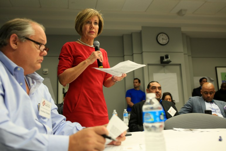 City Manager Sheryl Sculley gives details on a section of the agenda given.